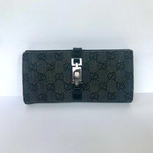 Gucci GG Monogram Wallet with Piston Lock